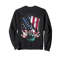Vintage Bowling T Shirt American Usa Flag Bowling T-shirt Sweatshirt Black