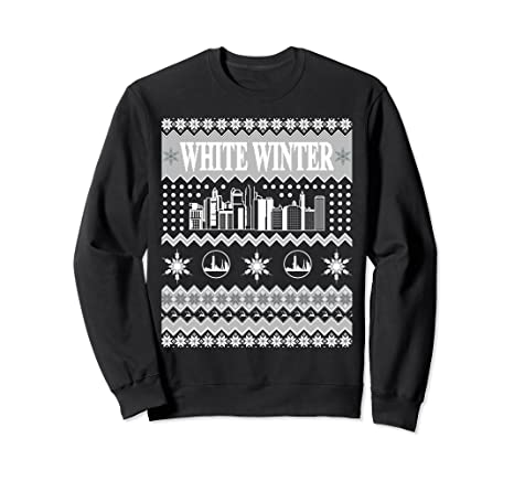 Amazoncom Ugly Christmas Sweater White Winter Skyline By L