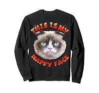 Grumpy Cat This Is My Happy Face Graphic Shirts Sweatshirt Black