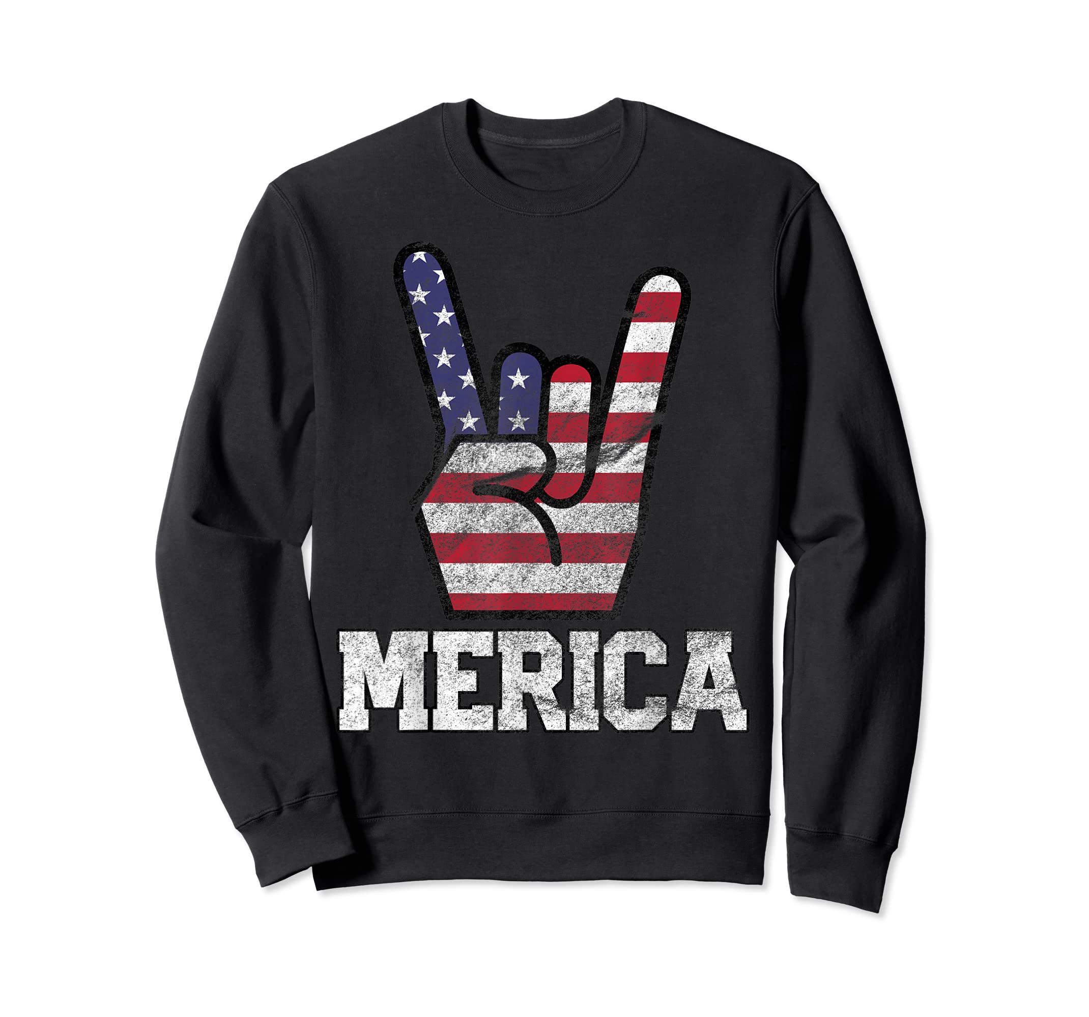 Merica Rock Sign 4th of July Vintage American Flag Retro USA T-Shirt-Sweatshirt-Black