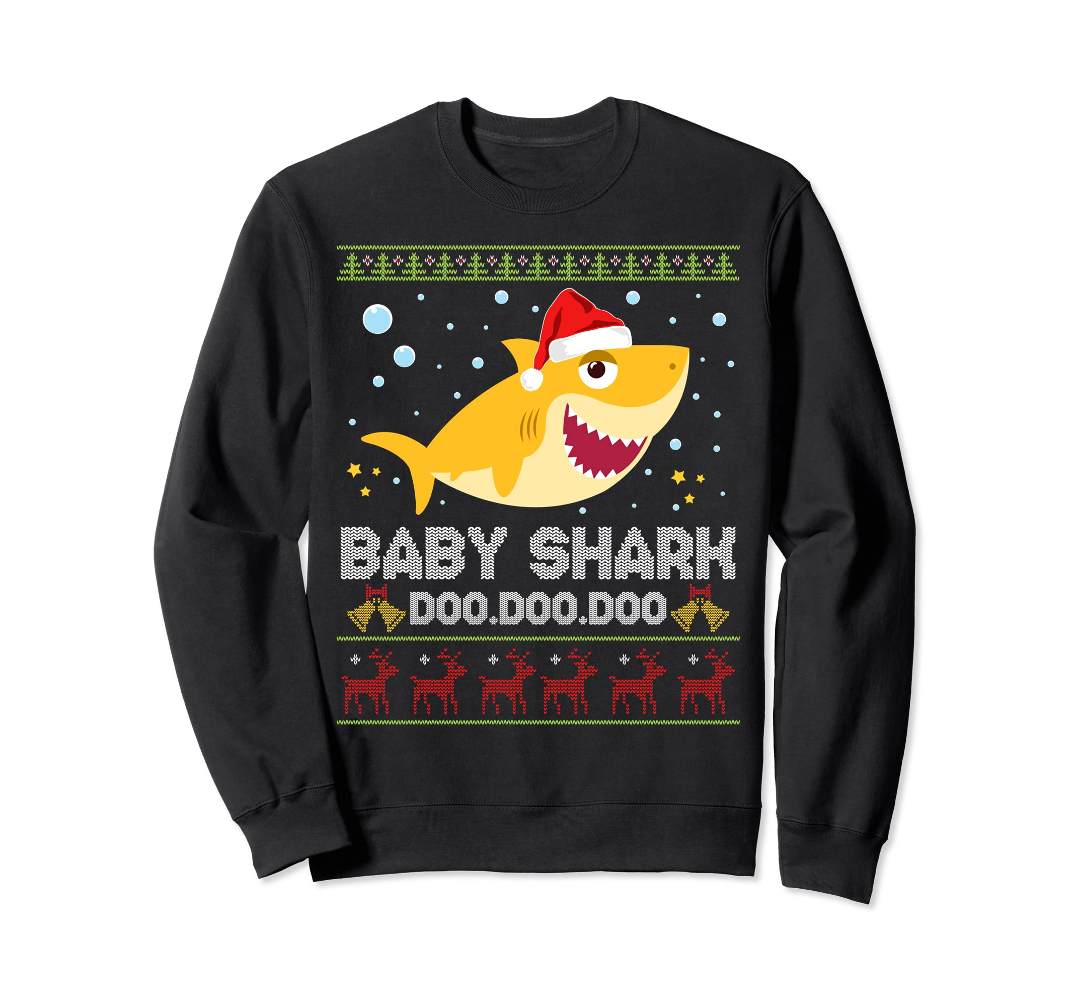 """Christmas sweater with a shark graphic and the words """"Baby shark doo doo doo"""""""