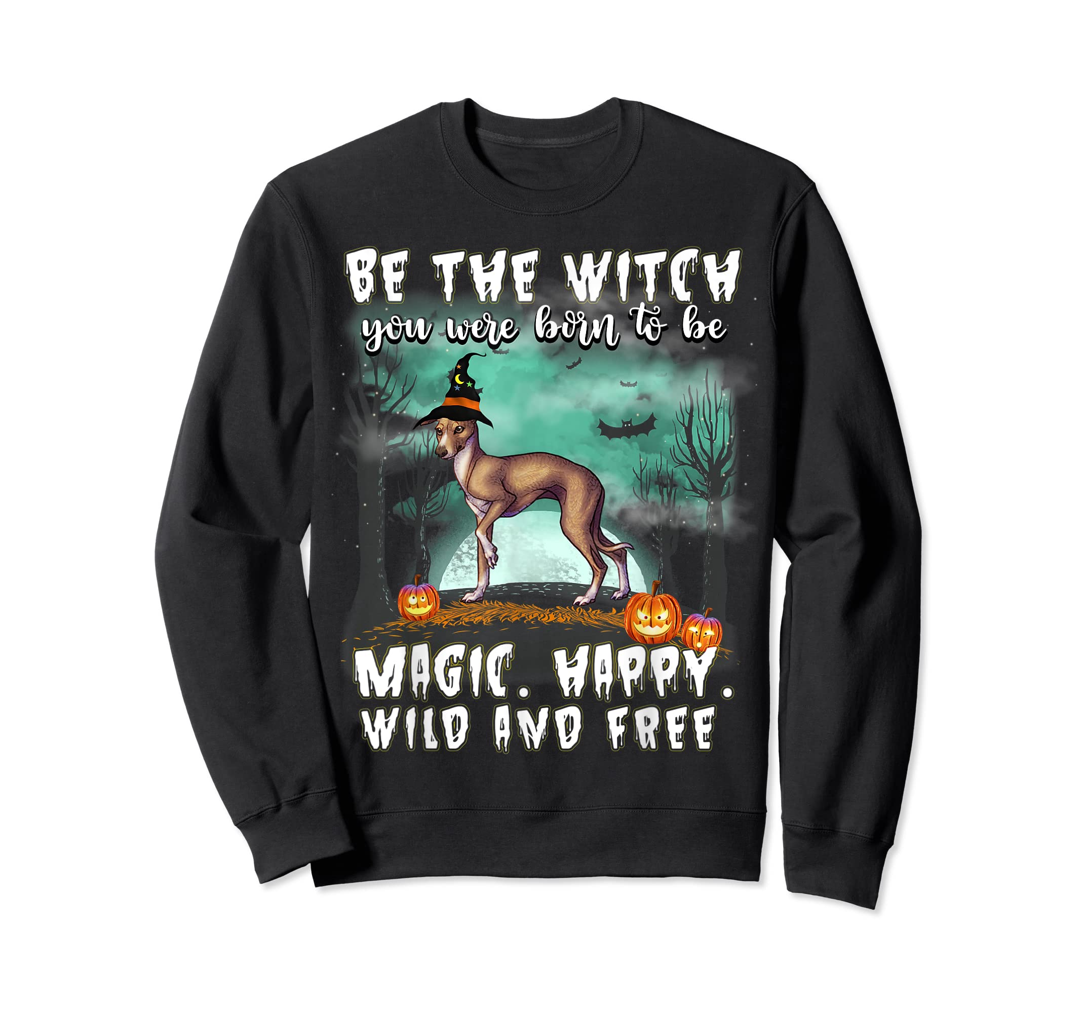 Be The Witch Italian Greyhound Dog Halloween T-Shirt-Sweatshirt-Black