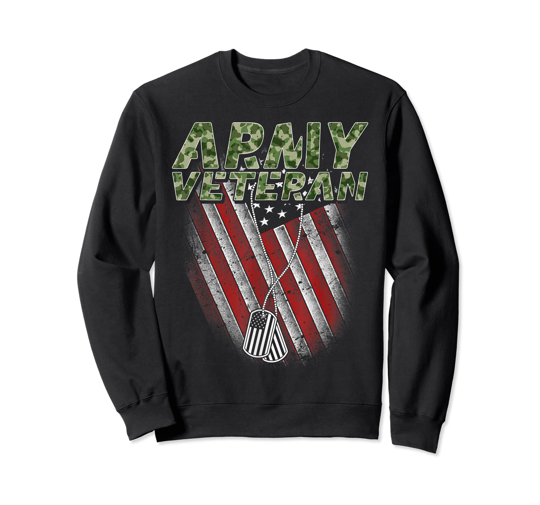Army Veteran American Flag Camo Proud US Christmas Gifts T-Shirt-Sweatshirt-Black