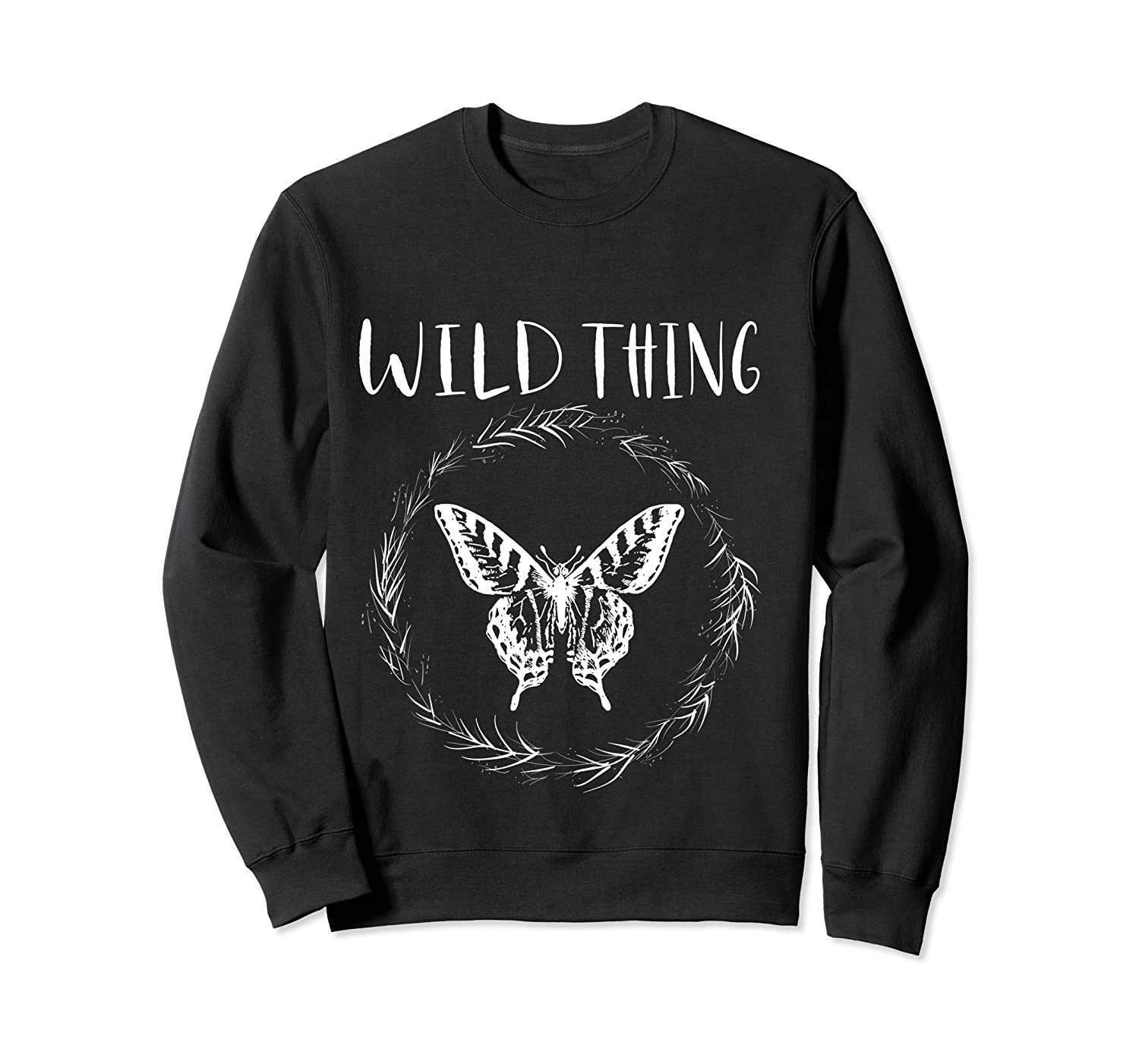 Wild Thing Butterfly Floral Wht Shirts Crewneck Sweater