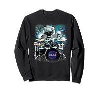 Nasa Space Drum Playing Astronaut Premium Graphic T-shirt Sweatshirt Black