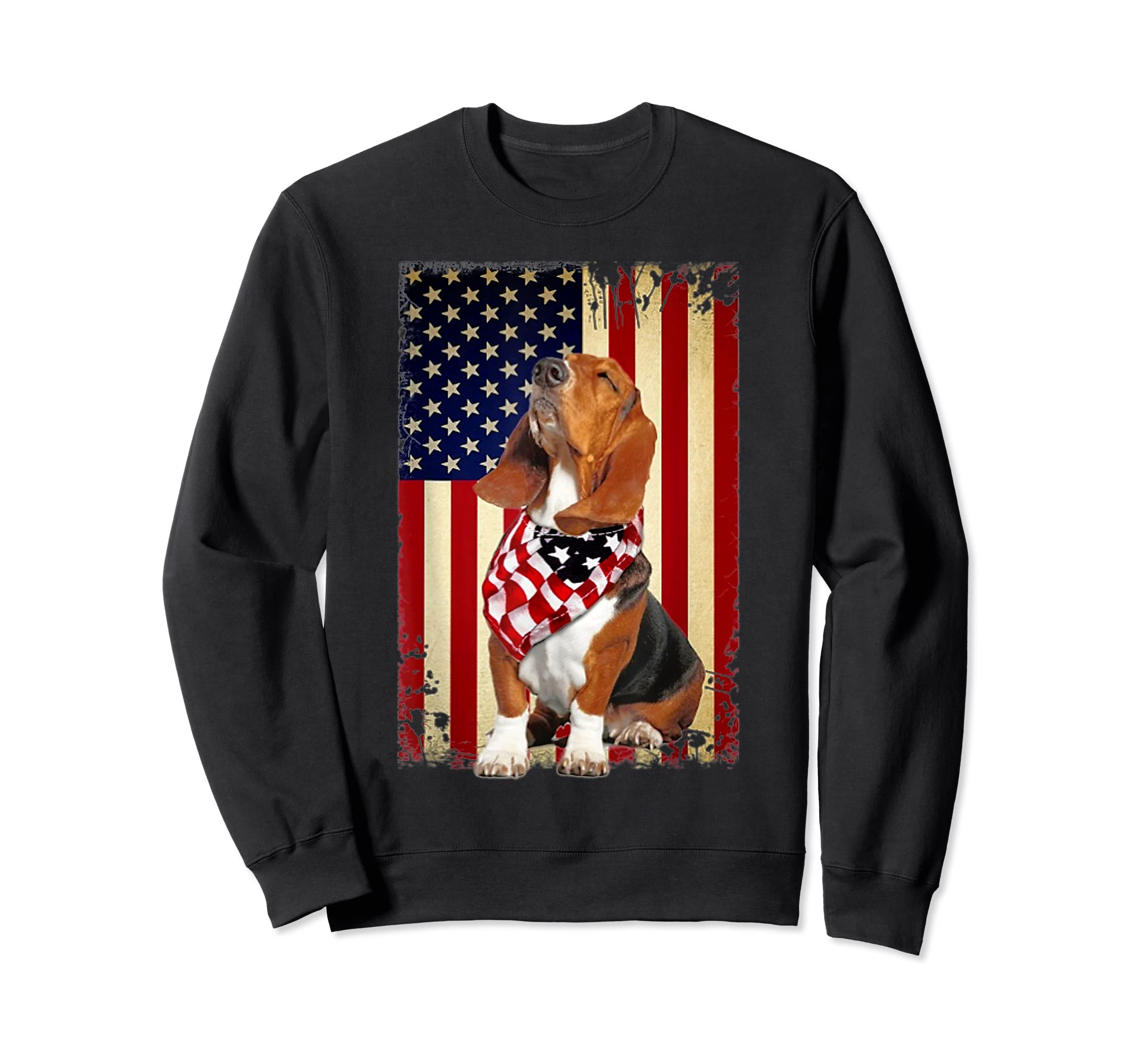 Basset hound smile flag American t-shirt Independence 4th of-Sweatshirt-Black