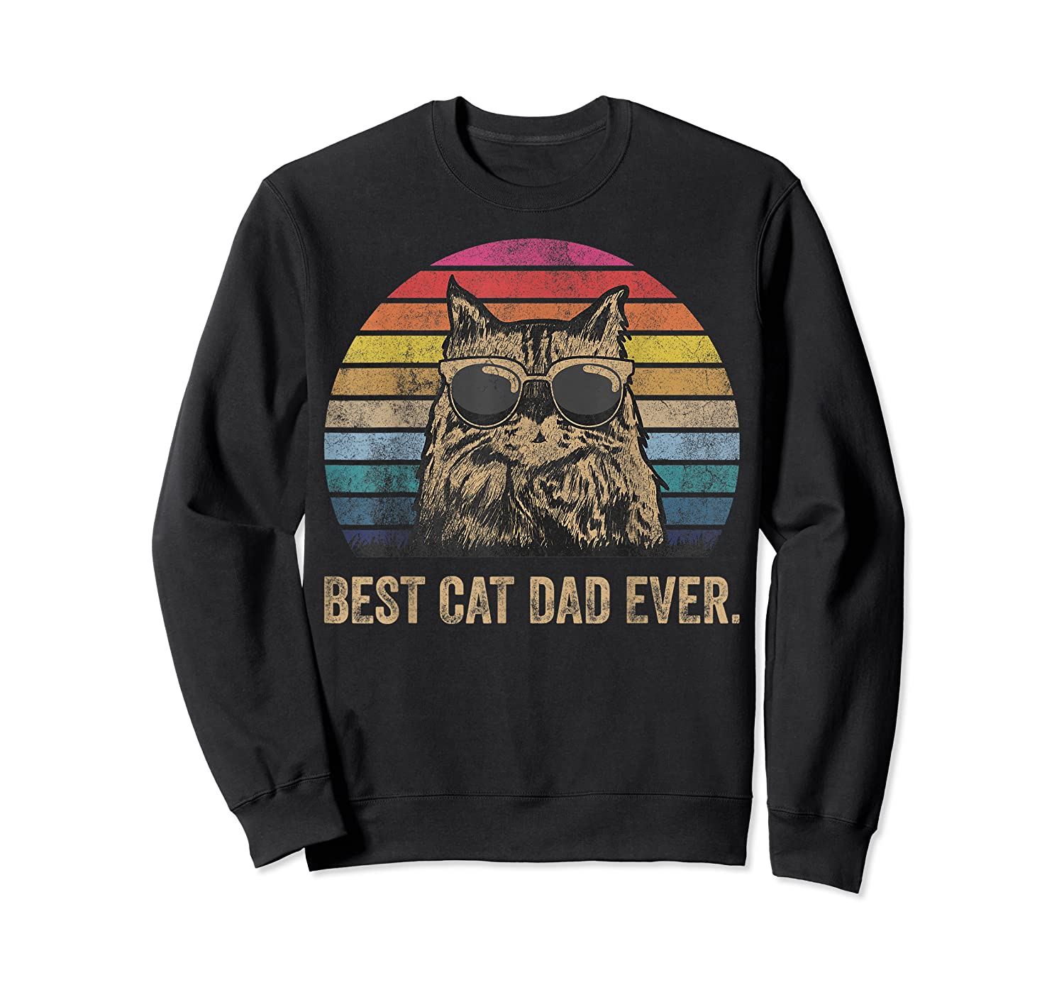 Best Cat Dad Ever Papa Birthday Father's Day Gift Shirts Crewneck Sweater