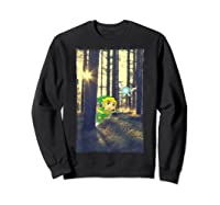 Nintendo Zelda Link And Navi Photo Real Forest Scene Shirts Sweatshirt Black