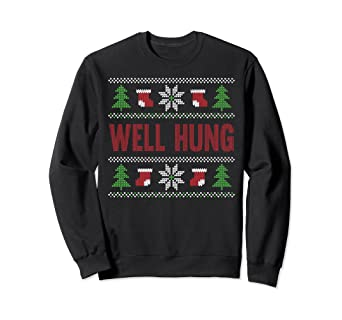 a6f85d490 Image Unavailable. Image not available for. Color: well hung ugly christmas  sweater funny sweat shirt jumper