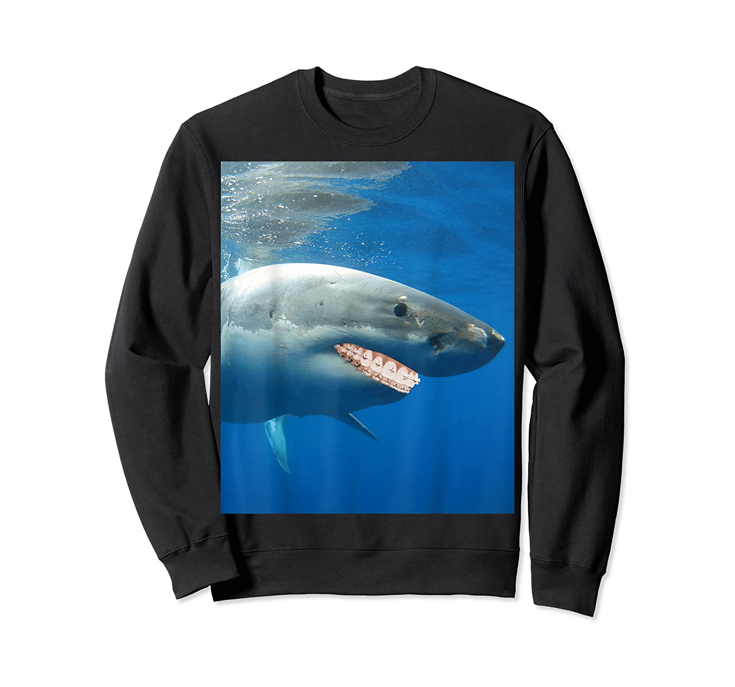 Great Shark With Braces And Human Th Shirts Crewneck Sweater