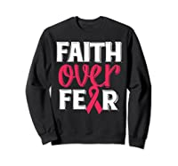 Faith Over R Breast Cancer Awareness Gift Shirts Sweatshirt Black