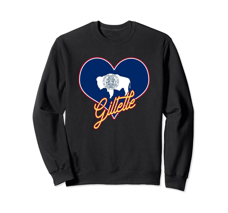 I Love Gillette Wyoming State Flag in Heart Hometown Sweatshirt