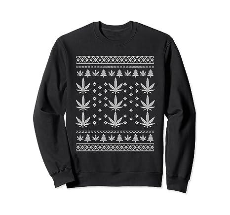 Amazoncom Funny Ugly Christmas Sweater Stoner Marijuana Men