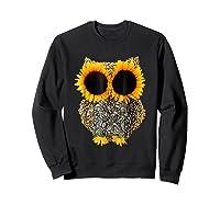 Owl Sunflower Shirt Funny Owl Lovers Shirt Sweatshirt Black