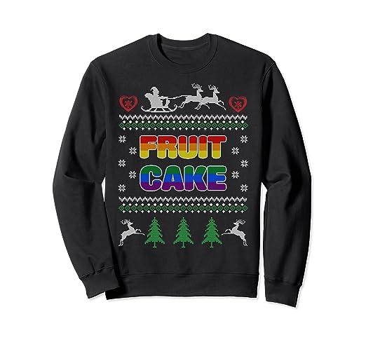 bb4bd216267b Amazon.com  Fruit Cake Funny Gay Ugly Christmas Sweater LGBT ...