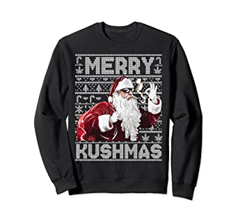 cf4eb4a73b9984 Amazon.com: Ugly Christmas Sweater Sweatshirt Santa Marijuana Cannabis:  Clothing