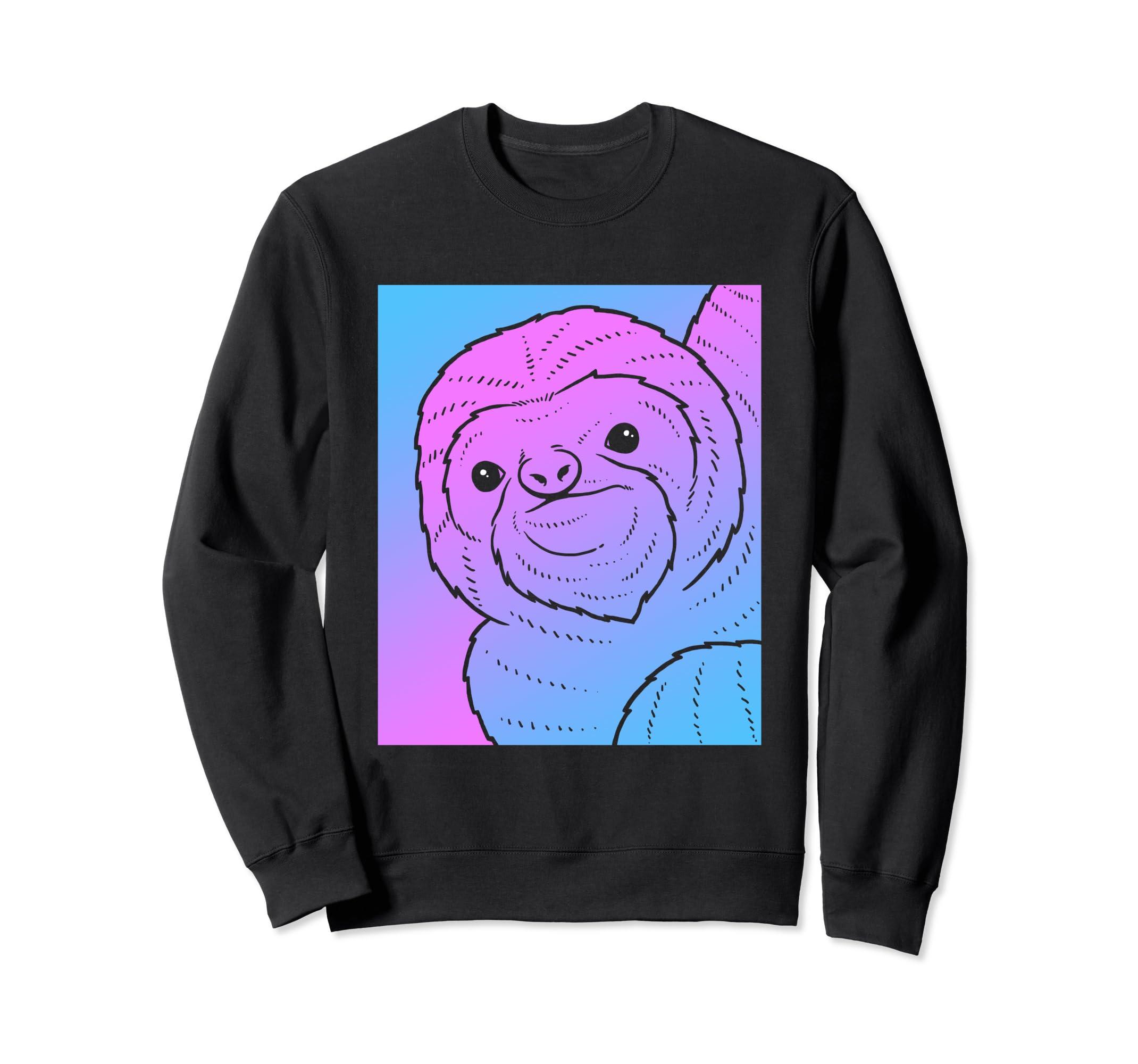 8b5d268bc Amazon.com: Vaporwave Sloth Aesthetic Sweatshirt - Pastel Sloths: Clothing