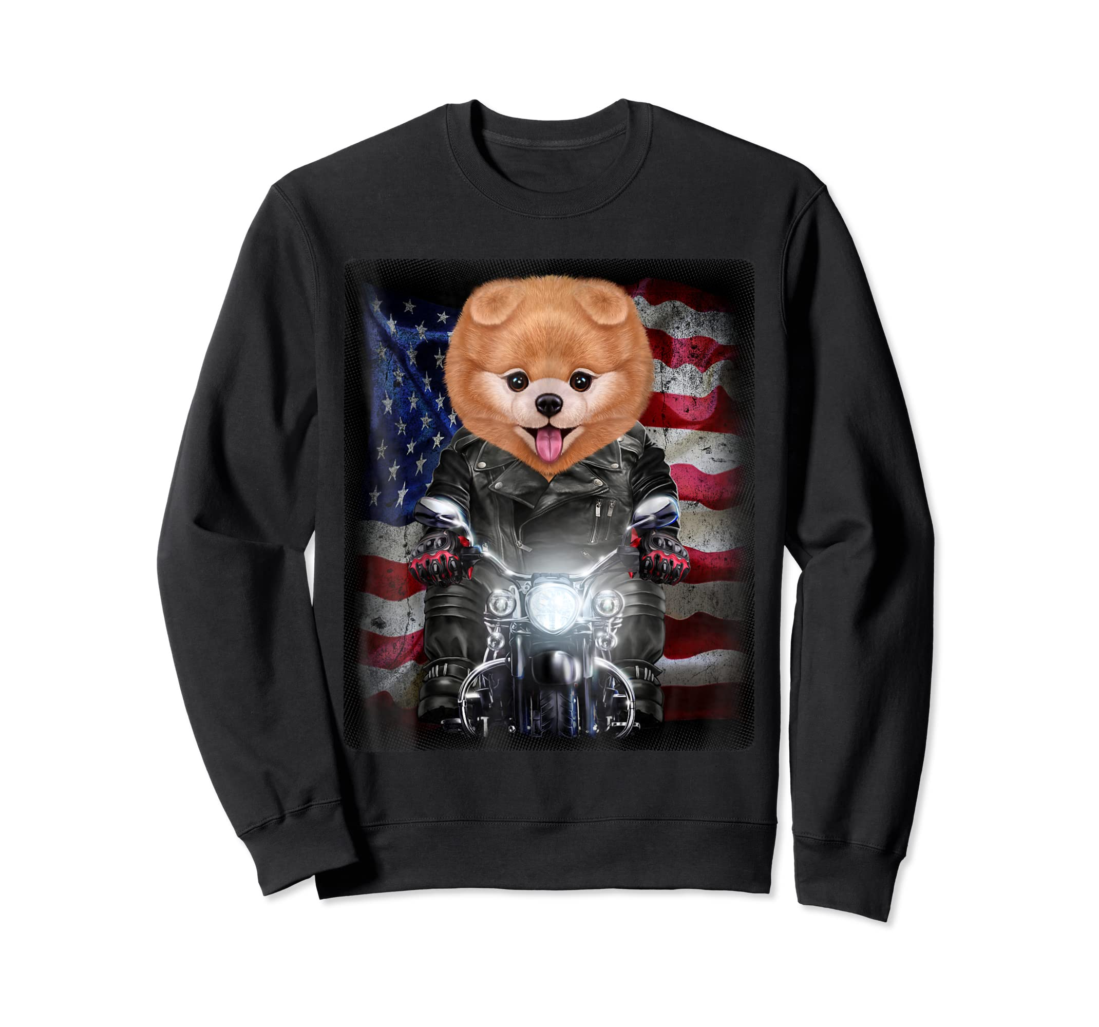 Pomeranian Dog on Motorbike with Flag of USA - T-Shirt-Sweatshirt-Black