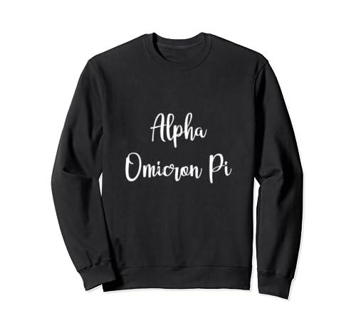Alpha Omicron Pi Cursive Letters Sisters College Alumni Gift Sweatshirt