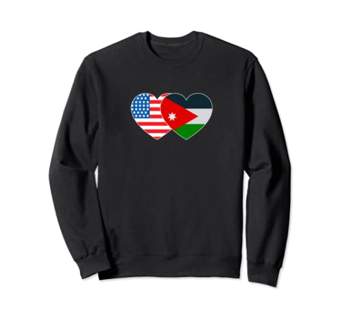 Jordan&Usa Flag Twin Heart For Jordanian Americans Patriotic Sweatshirt