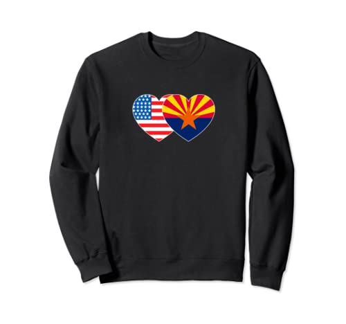 Arizona & Usa Flag Twin Heart For Proud Americans Patriotic Sweatshirt