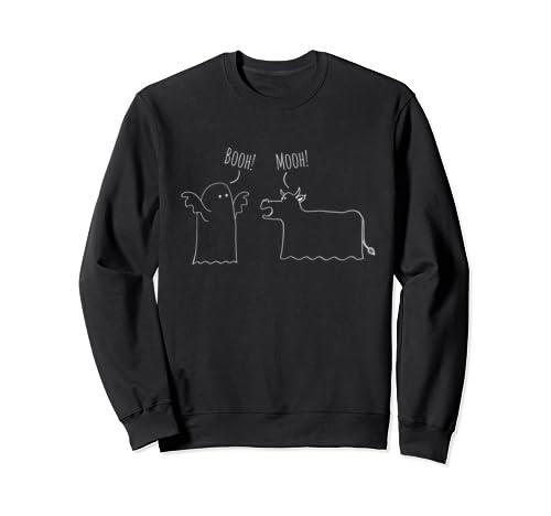 Funny Ghost Cow Cartoon Halloween Sweatshirt