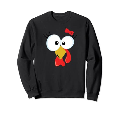 Funny Turkey Face With Red Bow For Girls And Women Sweatshirt