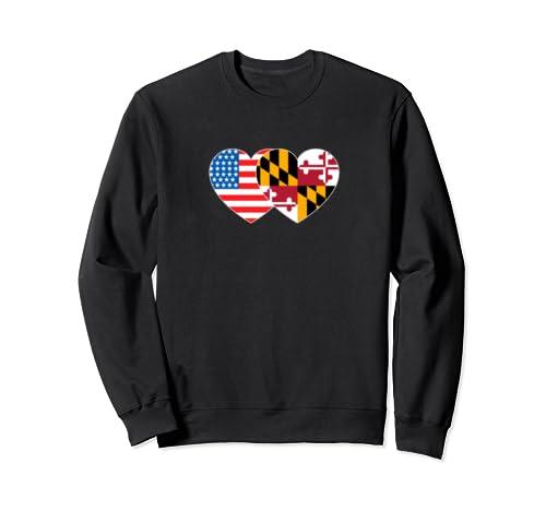Maryland&Usa Flag Twin Heart For Maryland Americans Patriots Sweatshirt