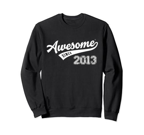 Awesome Since 2013 Old School Baseball 6th Birthday Gift Sweatshirt