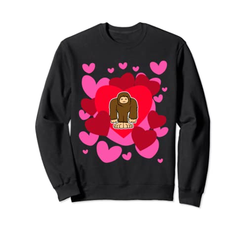 Bigfoot Cute Hearts Valentine's Romantic Holiday Animals Sweatshirt