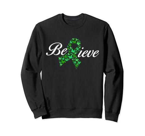 Believe Mental Health Awareness Green Butterfly Ribbon Gifts Sweatshirt