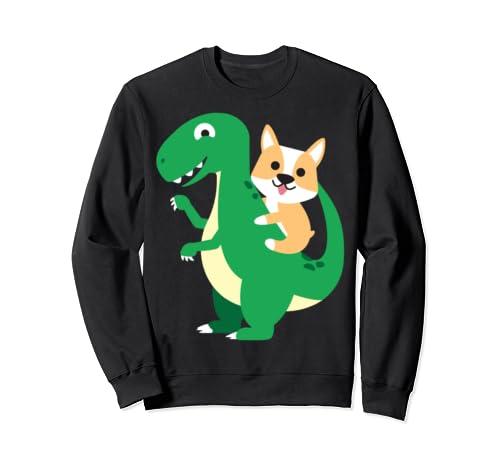 Corgi Riding T Rex Cool Dinosaur Dino Dog Halloween Costume Sweatshirt