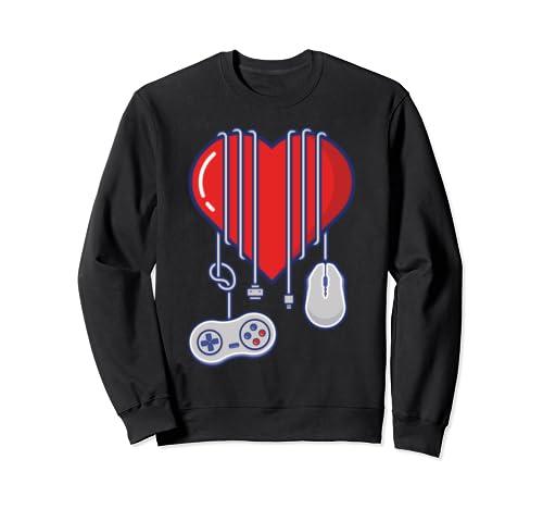 Gamer Heart Design Valentines Day With Retro Controller Sweatshirt