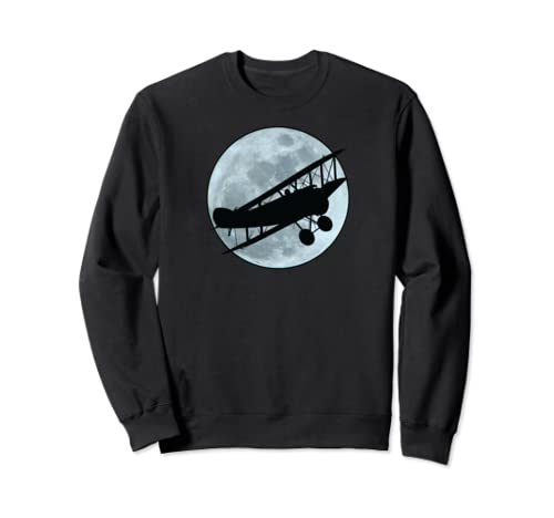 Full Moon And A Vintage Biplane Aviators  Sweatshirt
