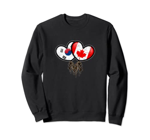 South Korean Canadian Flags Inside Hearts With Roots Sweatshirt