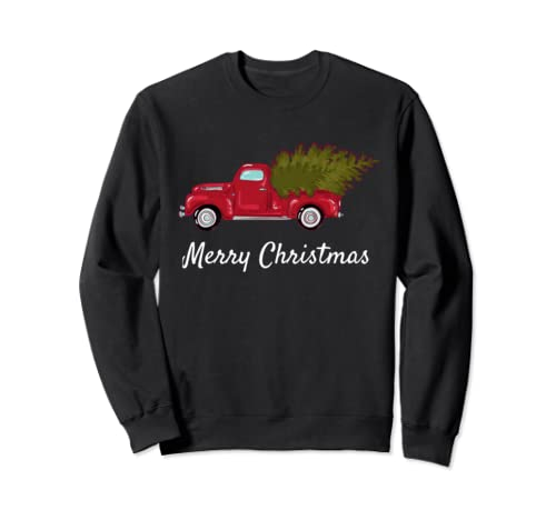 Vintage Pickup Truck with Christmas Tree - Merry Christmas Sweatshirt