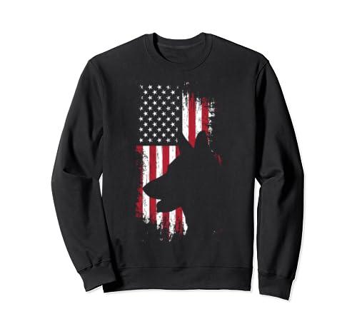 German Shepherd American Flag Shirt Usa Patriotic Dog Gift Sweatshirt