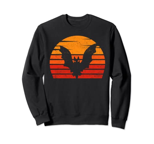 Vintage Retro Sunset Halloween Flying Bat Scary Costume Sweatshirt