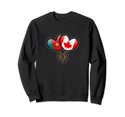Cameroonian Canadian Flags Inside Hearts With Roots Sweatshirt
