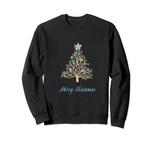 Christmas Tree And Seashells   Merry Christmas Sweatshirt