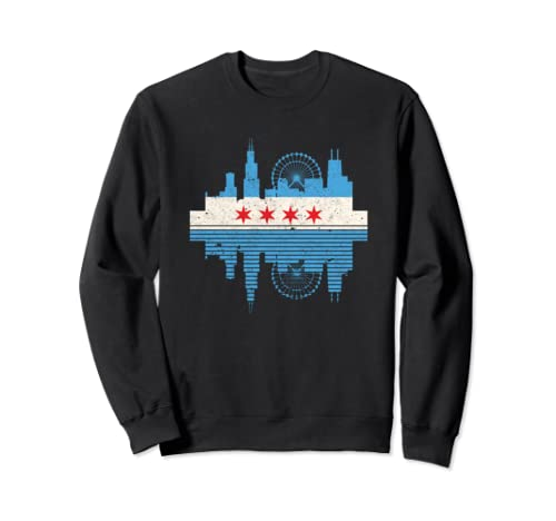 Chicago Usa Chicago Skyline Flag Illinois America Gift Sweatshirt