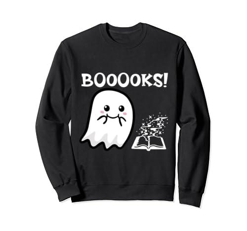 Booooks, Cute Ghost Reading Magic Books Funny Halloween Sweatshirt