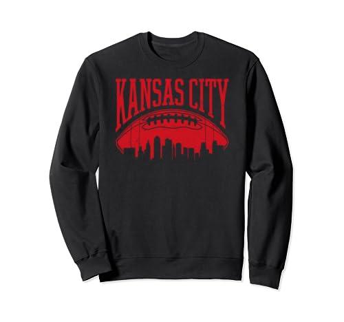 Kansas City Football Vintage Kc Skyline Missouri Chief Retro Sweatshirt