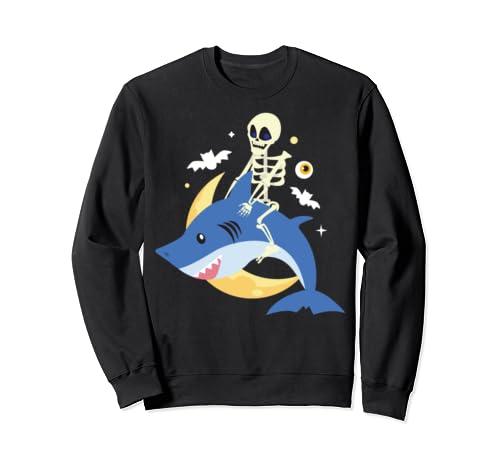 Skeleton Riding Shark Cool Skull Ocean Halloween Costume Sweatshirt