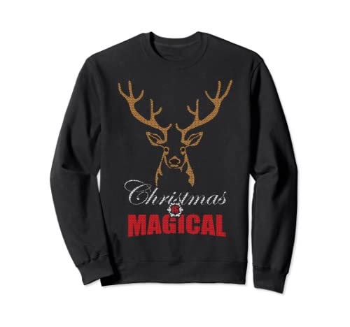 Christmas Is Magical Christmas Santa And Deer Funny Sweatshirt