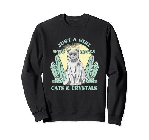 Just A Girl Who Love Cats & Crystals Spiritual Yoga Women Sweatshirt