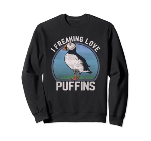 I Freaking Love Puffins Funny Seabird Puffin Vintage Picture Sweatshirt
