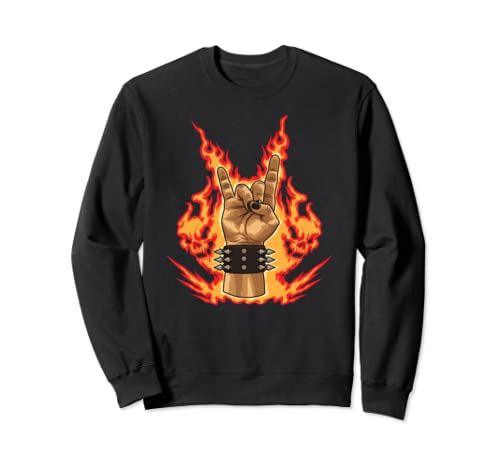 Fire Devil Horns   Heavy Metal Hand Gesture Sweatshirt