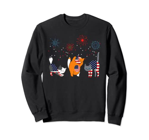 Fourth 4th of July American Flag Meowica Cats Cat Sweatshirt