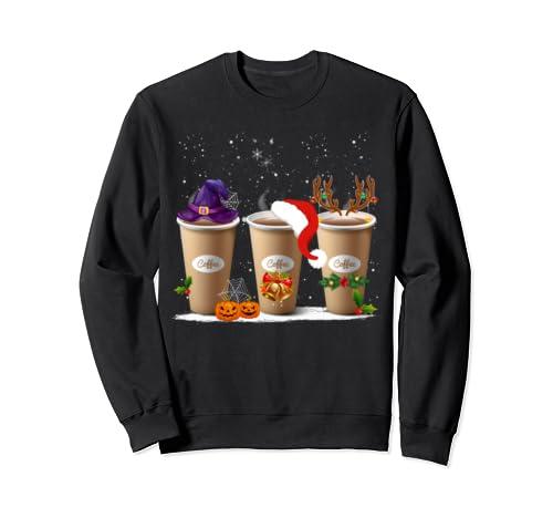 Funny Witch Santa Claus Reindeer Coffee Shirt Christmas Gift Sweatshirt